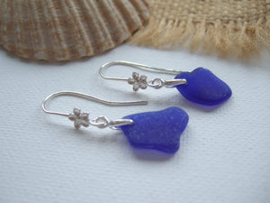 flower design earrings with blue sea glass