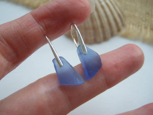 light blue scottish sea glass earrings