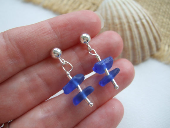 stacked blue sea glass earrings