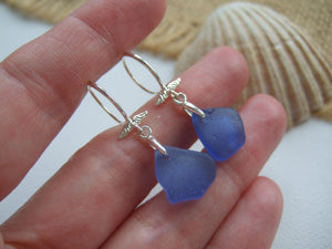 blue beach glass angel earrings