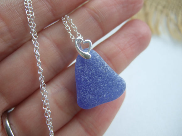 sky blue scottish sea glass necklace with heart setting