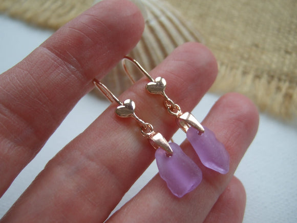 rose gold and sea glass neodymium heart earrings