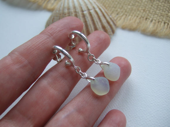 hoop earrings with dangling opalescent sea glass