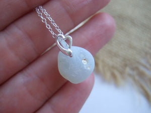 bonfire sea glass opalescent necklace