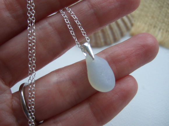 petite opalescent sea glass pendant