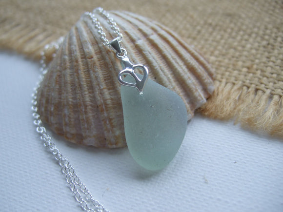 heart design opalescent sea glass necklace
