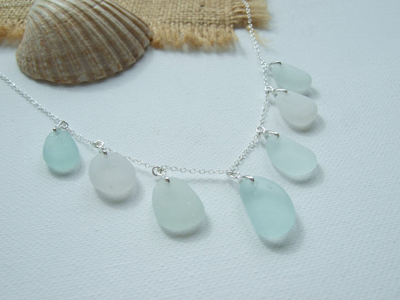 sea foam and white sea glass mix necklace