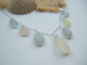 pastel necklace peach yellow grey sea glass