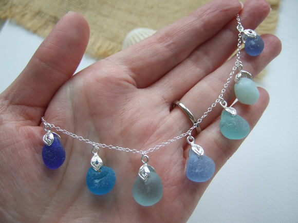 water colour sea glass necklace blue grey