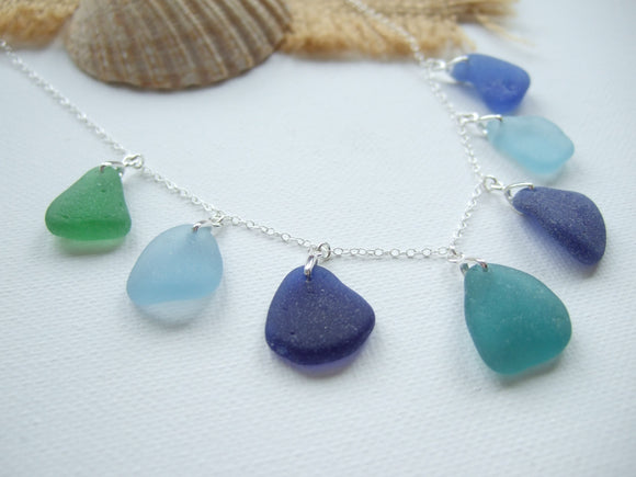 guernsey sea glass necklace green blue