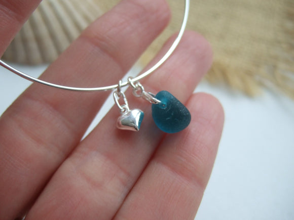 teal sea glass bangle sterling silver adjustable