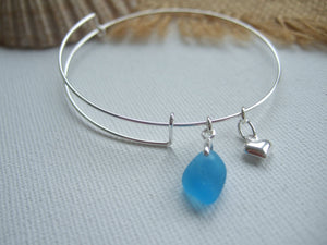 sky blue sea glass bangle sterling silver