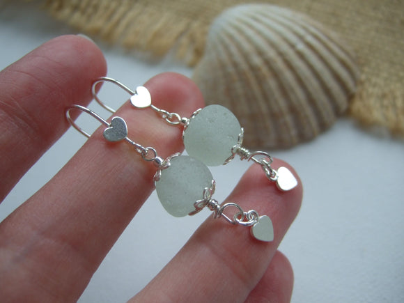 heart design sphere sea glass drop earrings