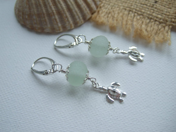 sphere sea glass and turtle earrings