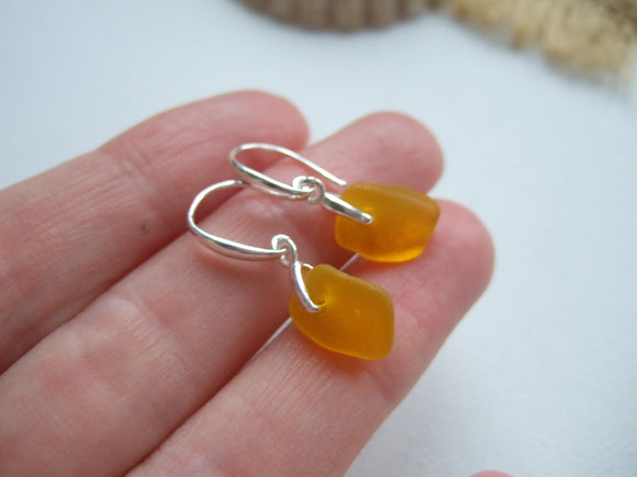 Yellow Sea Glass Earrings - Spanish sea glass Swirl Design