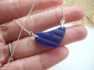 blue heart shaped sea glass necklace