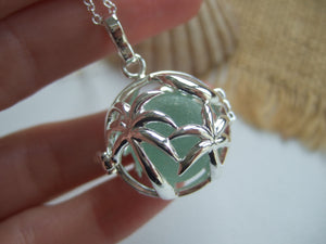 palm tree sea glass marble locket