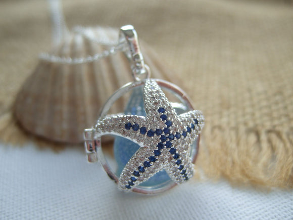 star fish locket with sea glass marble