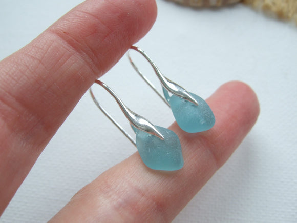 japanese sea glass wave design earrings in teal