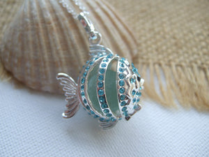 turquoise sea glass marble fish pendant