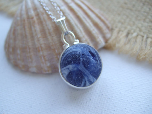 half marble necklace blue