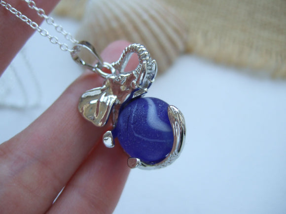 blue sea glass marble in elephant pendant