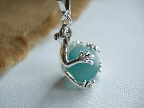 turquoise sea glass marble necklace in frog locket