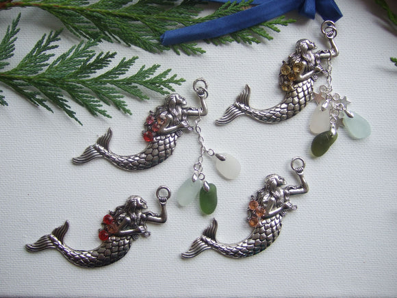 Sparkly Mermaid Pendant, Christmas tree decoration, sun catcher, sea glass mix