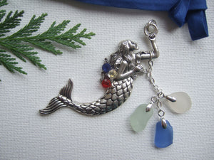 red white blue sparkly mermaid tree ornament