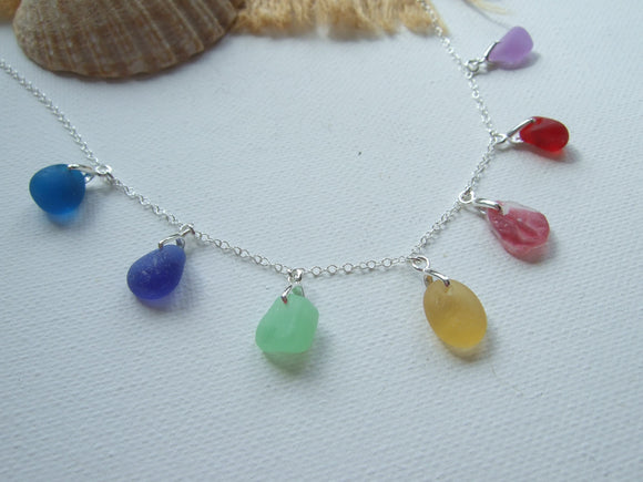 sea glass rainbow colourful necklace