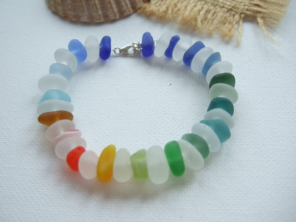 statement rainbow bracelet sea glass