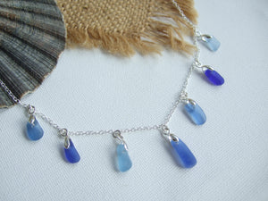 petite blue scottish sea glass necklace