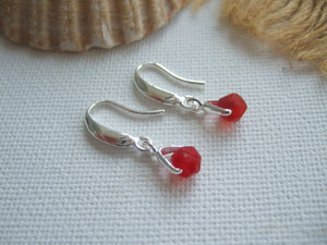 red sea glass bead earrings