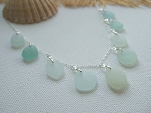 beach glass necklace in sea foam green and sterling silver
