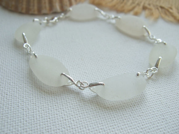 white sea glass bracelet sterling silver
