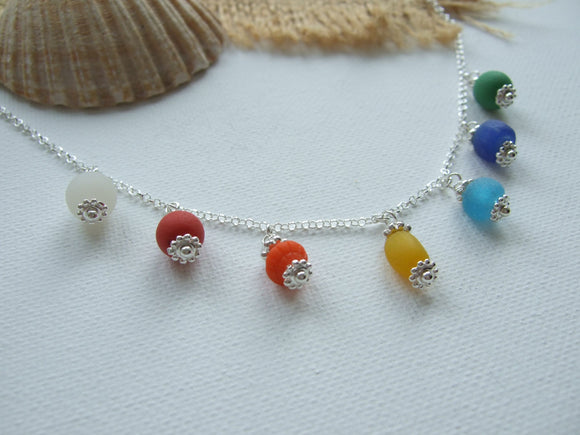 rainbow beach bead necklace