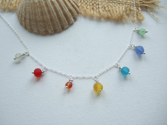 colorful sea glass bead rainbow necklace