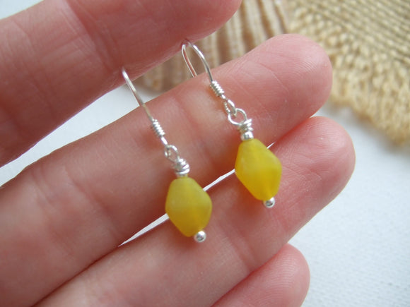 yellow sea glass bead earrings