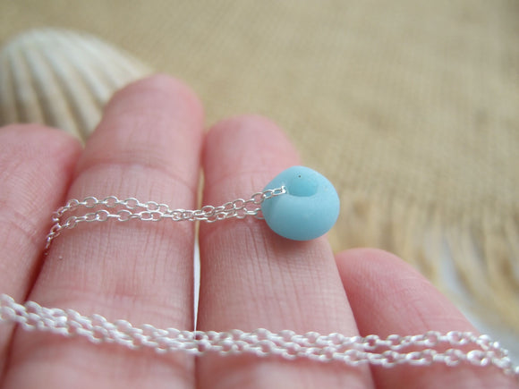 sea glass bead necklace turquoise