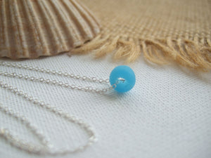 turquoise sea glass bead necklace