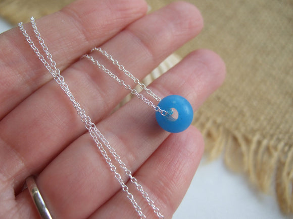 large turquoise sea glass bead necklace