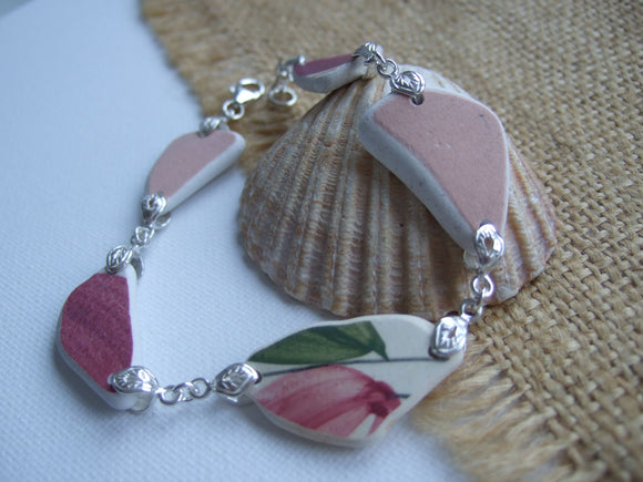 floral red and pink sea pottery bracelet