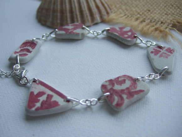 red scottish spongeware sea pottery bracelet
