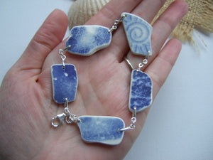 scottish blue beach pottery bracelet