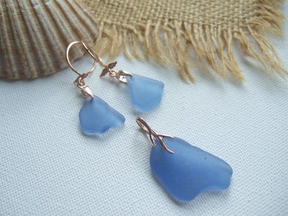 rose gold sea glass jewelry set