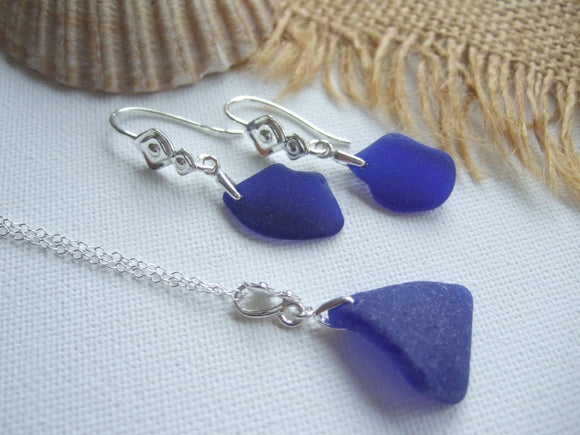 cobalt blue scottish sea glass jewellery set
