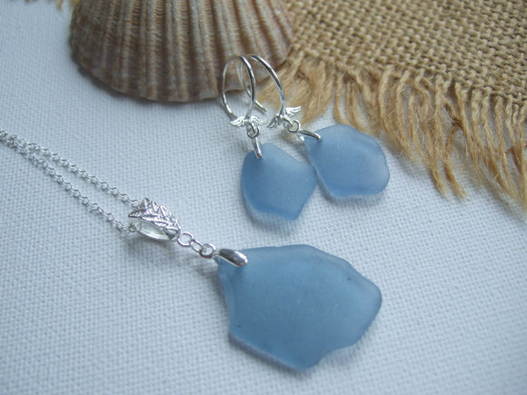 light blue scottish sea glass jewellery set