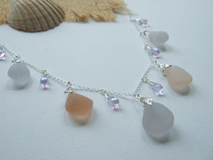 apricot lavender sea glass necklace with alexandrite beads