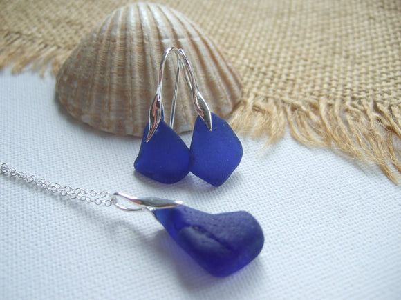 mermaid jewelery set cobalt blue sea glass