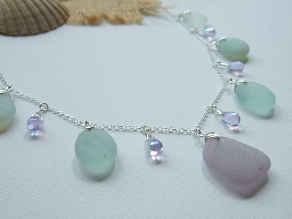 alexandrite and sea glass necklace
